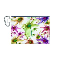 Multicolored Floral Print Pattern Canvas Cosmetic Bag (Medium)