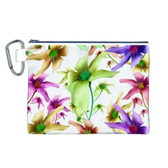 Multicolored Floral Print Pattern Canvas Cosmetic Bag (Large)