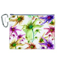 Multicolored Floral Print Pattern Canvas Cosmetic Bag (XL)