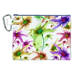 Multicolored Floral Print Pattern Canvas Cosmetic Bag (XXL)