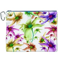 Multicolored Floral Print Pattern Canvas Cosmetic Bag (XXXL)