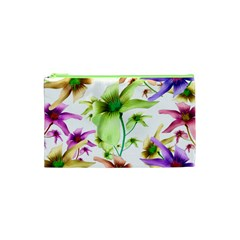 Multicolored Floral Print Pattern Cosmetic Bag (XS)