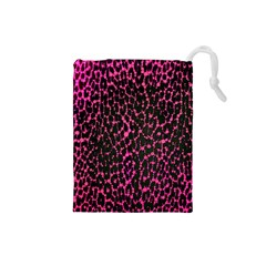 Hot Pink Leopard Print  Drawstring Pouch (Small)