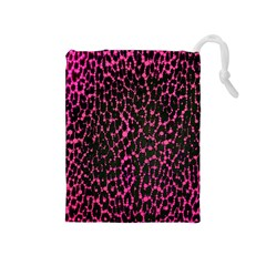 Hot Pink Leopard Print  Drawstring Pouch (medium)