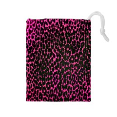 Hot Pink Leopard Print  Drawstring Pouch (Large)