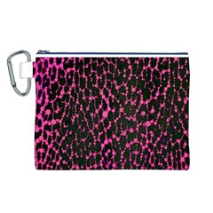 Hot Pink Leopard Print  Canvas Cosmetic Bag (Large)