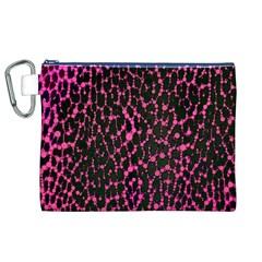 Hot Pink Leopard Print  Canvas Cosmetic Bag (xl)