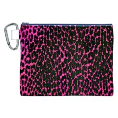 Hot Pink Leopard Print  Canvas Cosmetic Bag (xxl)