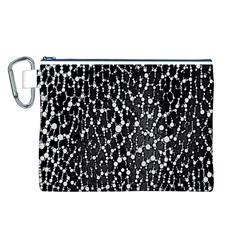 Black&white Leopard Print  Canvas Cosmetic Bag (Large)