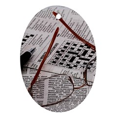 Crossword Genius Oval Ornament (Two Sides)
