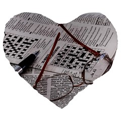 Crossword Genius 19  Premium Flano Heart Shape Cushion