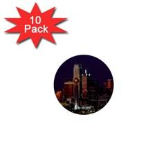 Dallas Skyline At Night 1  Mini Button (10 pack)
