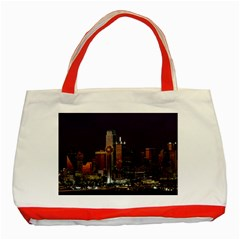 Dallas Skyline At Night Classic Tote Bag (Red)
