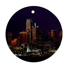 Dallas Skyline At Night Round Ornament (two Sides)