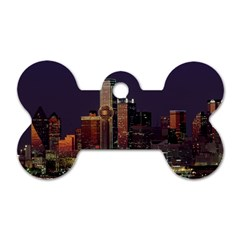 Dallas Skyline At Night Dog Tag Bone (one Sided)