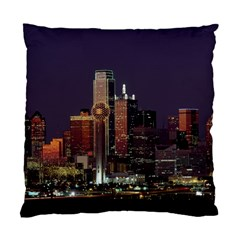 Dallas Skyline At Night Cushion Case (two Sided)