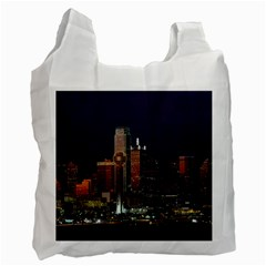 Dallas Skyline At Night White Reusable Bag (two Sides)