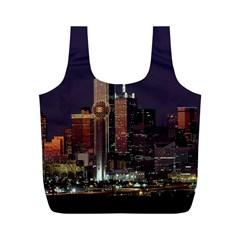 Dallas Skyline At Night Reusable Bag (m)