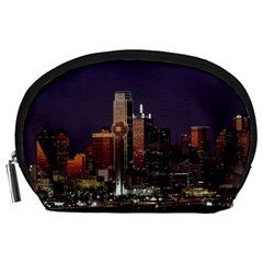 Dallas Skyline At Night Accessory Pouch (large)