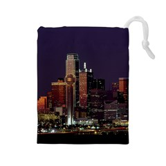 Dallas Skyline At Night Drawstring Pouch (Large)
