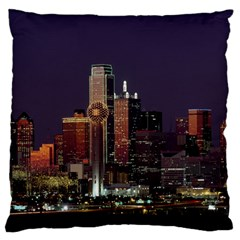 Dallas Skyline At Night Large Flano Cushion Case (one Side)
