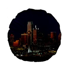 Dallas Skyline At Night 15  Premium Flano Round Cushion