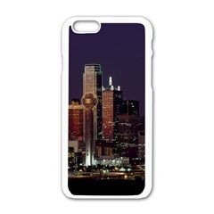 Dallas Skyline At Night Apple iPhone 6 White Enamel Case