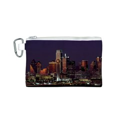 Dallas Skyline At Night Canvas Cosmetic Bag (Small)