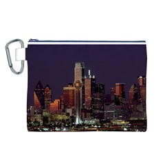 Dallas Skyline At Night Canvas Cosmetic Bag (large)