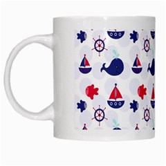 Nautical Sea Pattern White Coffee Mug