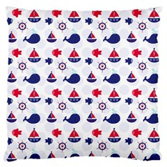 Nautical Sea Pattern Large Flano Cushion Case (Two Sides)