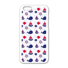 Nautical Sea Pattern Apple Iphone 6 White Enamel Case