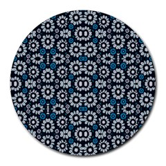 Floral Print Seamless Pattern In Cold Tones  8  Mouse Pad (round)