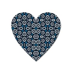 Floral Print Seamless Pattern In Cold Tones  Magnet (heart)
