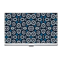 Floral Print Seamless Pattern In Cold Tones  Business Card Holder