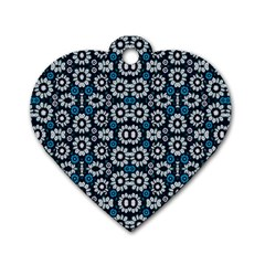 Floral Print Seamless Pattern in Cold Tones  Dog Tag Heart (Two Sided)