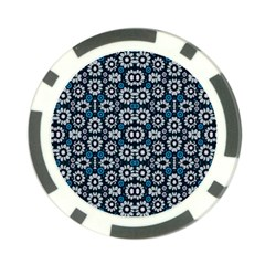 Floral Print Seamless Pattern In Cold Tones  Poker Chip (10 Pack)