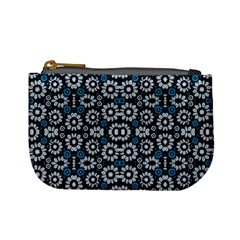 Floral Print Seamless Pattern In Cold Tones  Coin Change Purse