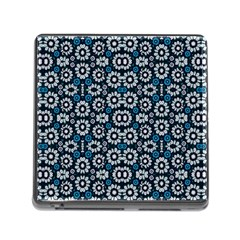 Floral Print Seamless Pattern In Cold Tones  Memory Card Reader With Storage (square)