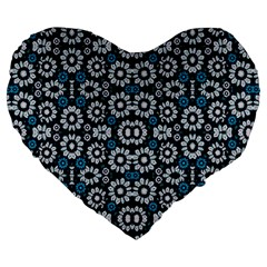 Floral Print Seamless Pattern In Cold Tones  19  Premium Heart Shape Cushion