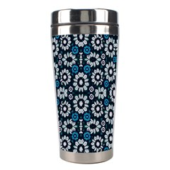 Floral Print Seamless Pattern In Cold Tones  Stainless Steel Travel Tumbler