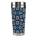 Floral Print Seamless Pattern in Cold Tones  Stainless Steel Travel Tumbler Left