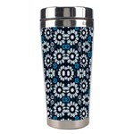 Floral Print Seamless Pattern in Cold Tones  Stainless Steel Travel Tumbler Center