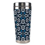 Floral Print Seamless Pattern in Cold Tones  Stainless Steel Travel Tumbler Right
