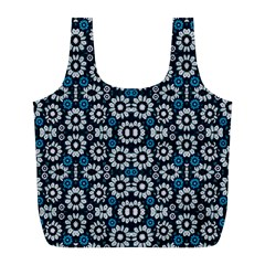 Floral Print Seamless Pattern in Cold Tones  Reusable Bag (L)