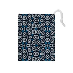 Floral Print Seamless Pattern in Cold Tones  Drawstring Pouch (Medium)