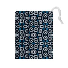 Floral Print Seamless Pattern in Cold Tones  Drawstring Pouch (Large)