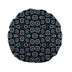 Floral Print Seamless Pattern in Cold Tones  15  Premium Flano Round Cushion