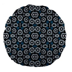 Floral Print Seamless Pattern in Cold Tones  18  Premium Flano Round Cushion