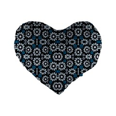 Floral Print Seamless Pattern in Cold Tones  16  Premium Flano Heart Shape Cushion